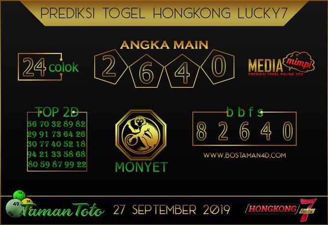 Prediksi Togel HONGKONG LUCKY 7 TAMAN TOTO 27 SEPTEMBER 2019