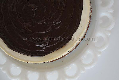 An overhead photo of a chocolate chip ricotta cheesecake.