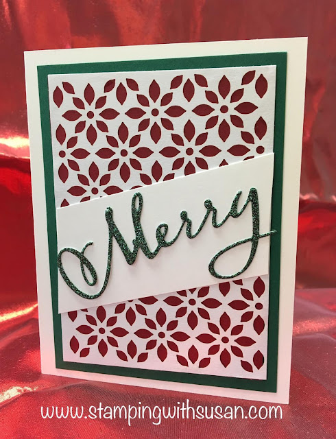 Stampin' Up!, www.stampingwithsusan.com, Joyous Noel Glimmer Paper,  Merry Christmas Thinlits,