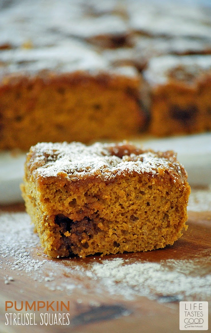 Pumpkin Streusel Squares | by Life Tastes Good are easy to make from a box of Spice Cake Mix I dressed up with creamy pumpkin puree and a sweet cinnamon and brown sugar streusel running through them. There is also a secret ingredient you don't normally find in baked goods that make these pumpkin squares super moist! You don't have to be a skilled baker to make these scrumptious squares, but everyone will think you are! #TasteTheMiracle #ad