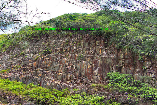 hexagonal volcanic tuff, columnar joints, Sai Kun Country Park, Hong Kong