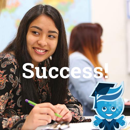 Image of a young female student smiling, looking away from camera.  Rio Salado mascot splash is in lower left corner, dressed as a graduate.  Text: Success