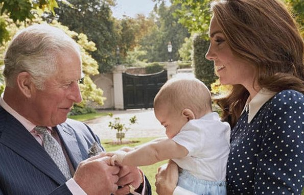 Kate Middleton wore Alessandra Rich Pleated polka-dot silk crepe de chine midi dress. Prince Louis of Cambridge. Prince Charles at 70
