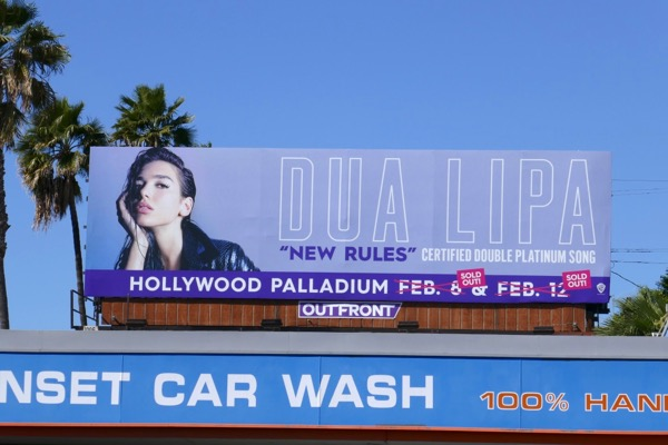 Dua Lipa New Rules billboard