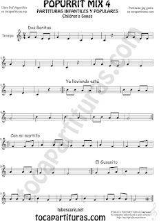 Mix 4 Partitura de Trompa y Corno Francés en Mi bemol Dos Ranitas, Ya lloviendo está, Con mi Martillo, El Gusanito Popurrí Mix 4 Sheet Music for French Horn Music Scores