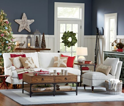 Coastal Christmas Winter Living Room Decor Idea