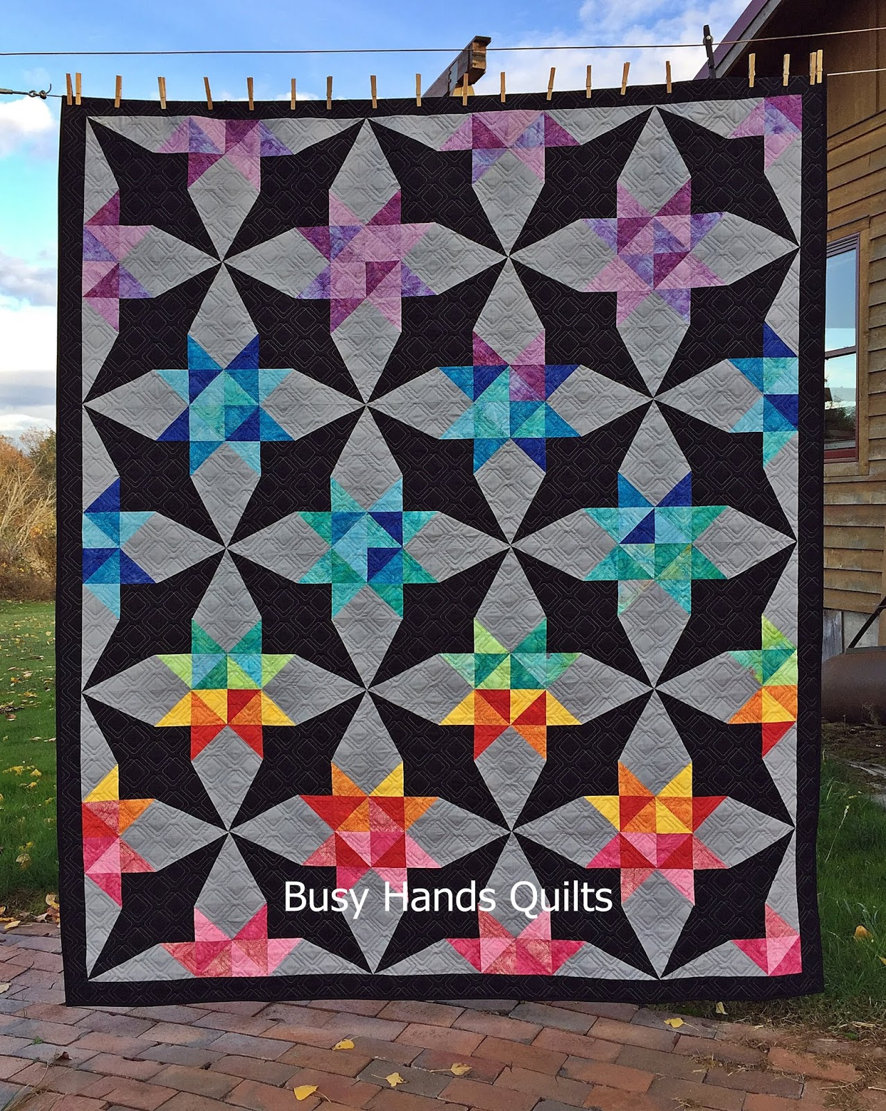 Busy Hands Quilts: Twin Size Whirl Quilt | October Island Batik Challenge -  Paper Piecing!