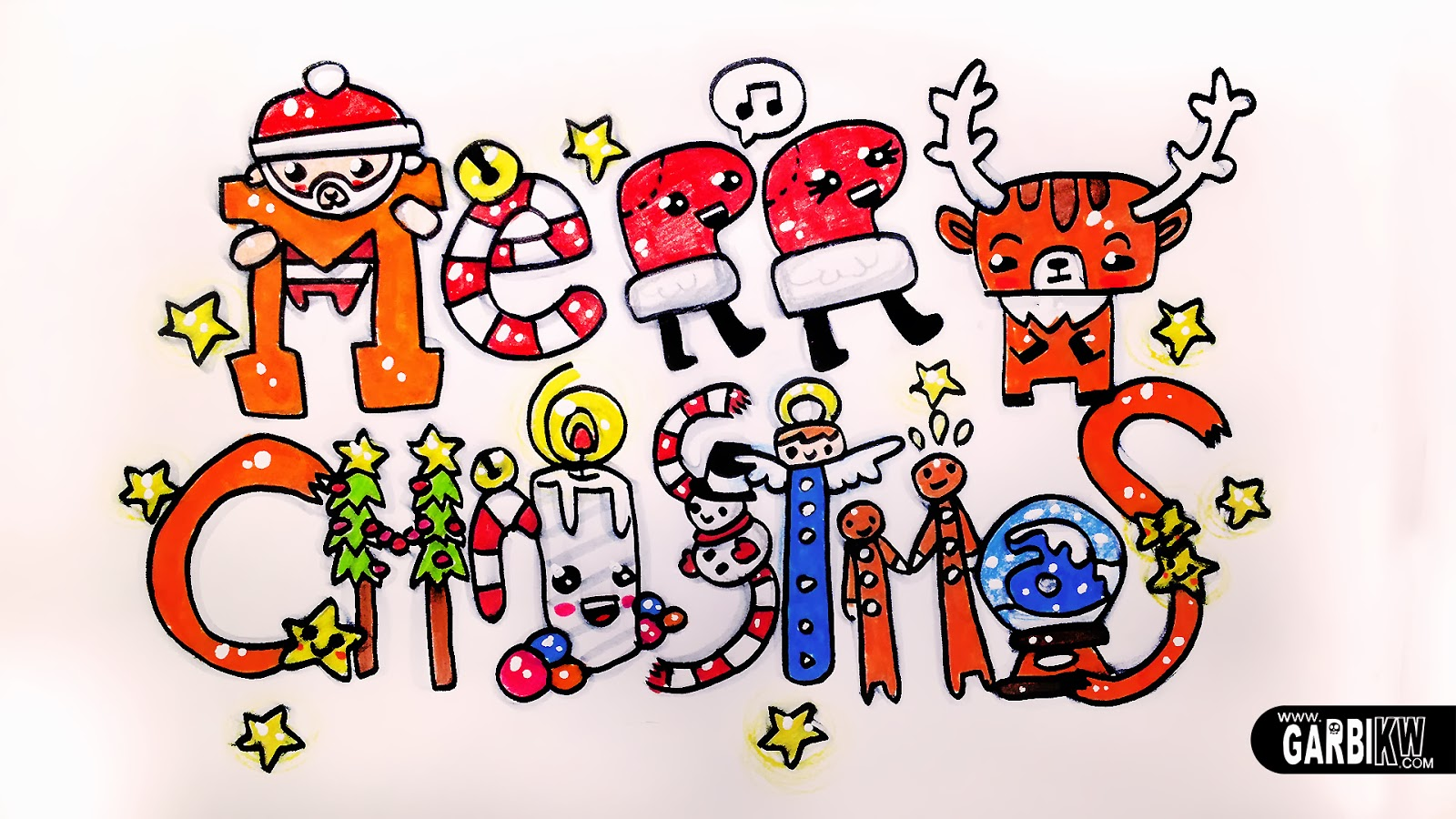 merry christmas how to draw cute and kawaii letters by garbi kw