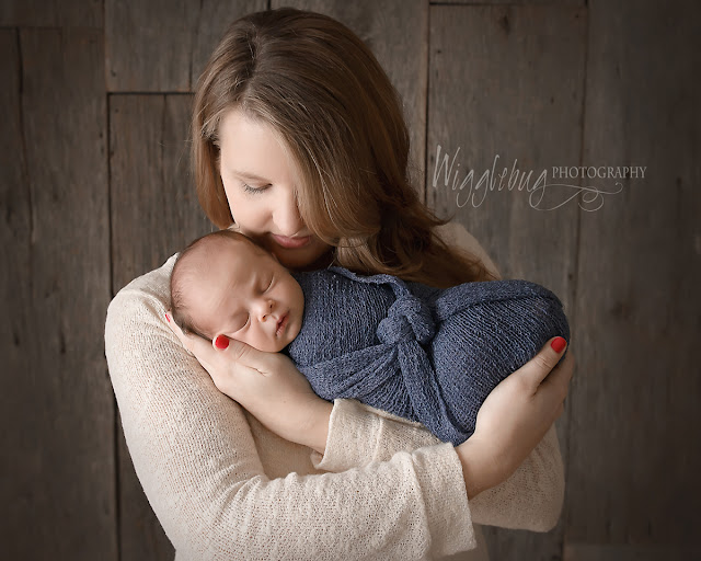 Newborn Baby Boy and mother in the DeKalb IL photography studio of Wigglebug Photography