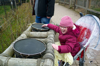 Jessica playing the drums at Chessington