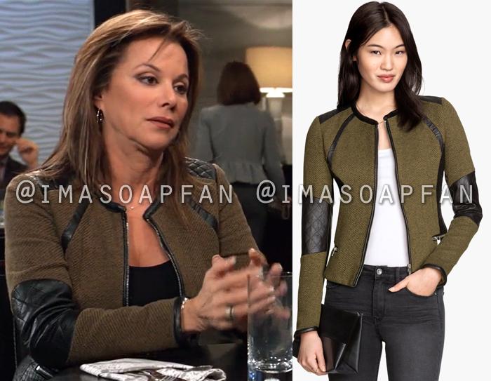 Alexis Davis, Nancy Lee Grahn, Olive Green Jacket with Faux Leather Trim, H&M, General Hospital, GH