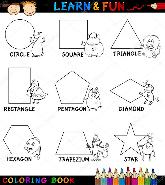 الاشكال الهندسية للاطفال للتلوين