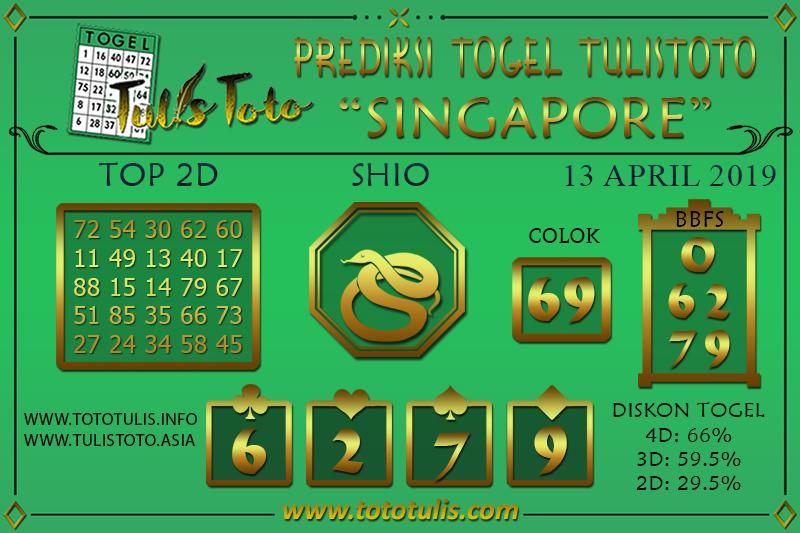 Prediksi Togel SINGAPORE TULISTOTO 13 APRIL 2019