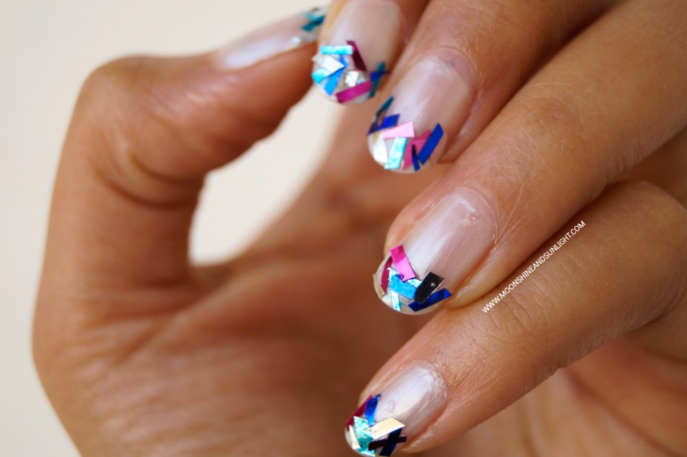Indian Nail art Blog, Glam , funky french nail tutorial , nail art using DIY Tinsel glitter