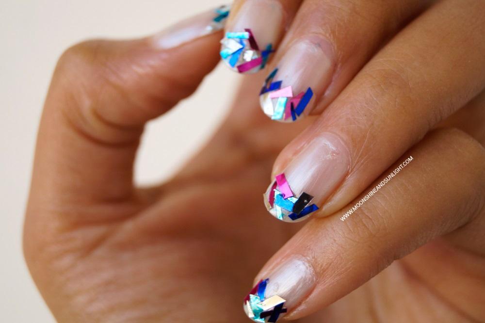 Indian Nail art Blog, Glam , funky french nail tutorial , nail art using DIY Tinsel glitter