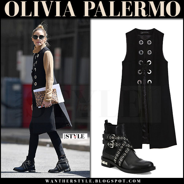 Olivia Palermo in black sleeveless zara coat, camel sweater and studded ankle miu miu boots what she wore april 2017