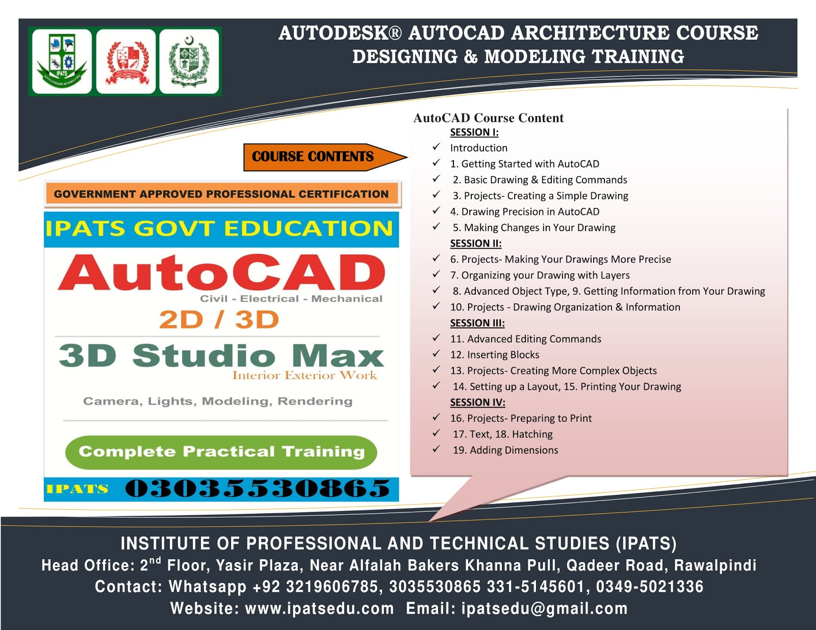 AutoCAD 2D/3D Profession Training Course Rawalpindio3035530865
