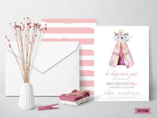 indian theme baptism invitations for girl