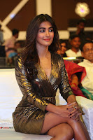 Pooja Hegde looks glamarous in deep neck sleevless short tight golden gown at Duvvada Jagannadham thank you meet function 027.JPG