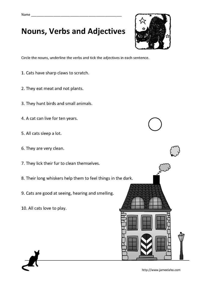 Kind Parenting Identifying Nouns Verbs and Adjectives in a – 2nd Grade Adjective Worksheets