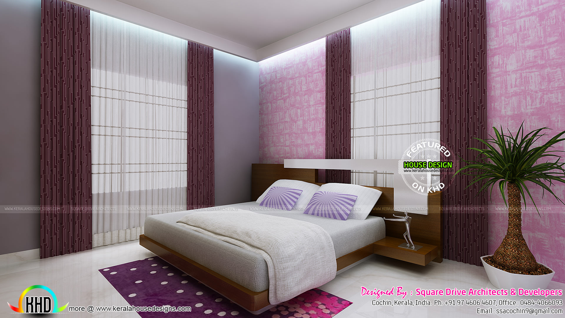 Blue And Pink Color Theme Bedroom Interior Kerala Home