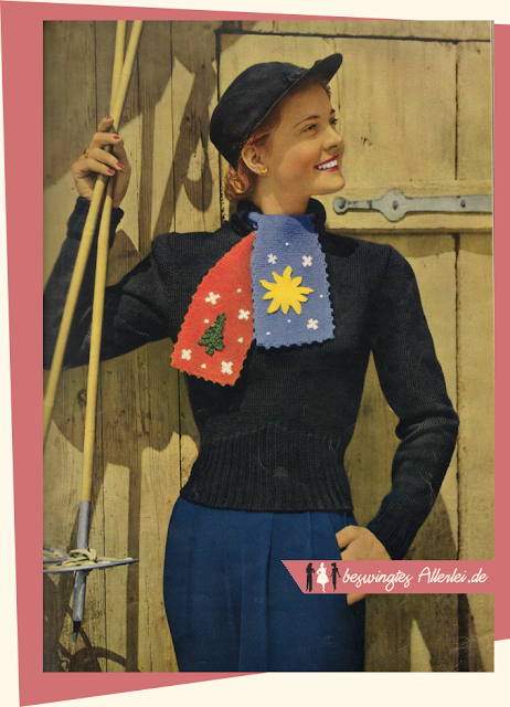 The Vintage Pattern Files: Free 1950s Knitting Pattern- Damenpullover für Wintersport!
