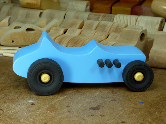 Right Side - Wooden Toy Car - Hot Rod Freaky Ford - 27 T Bucket - MDF - Blue - Black - Gold