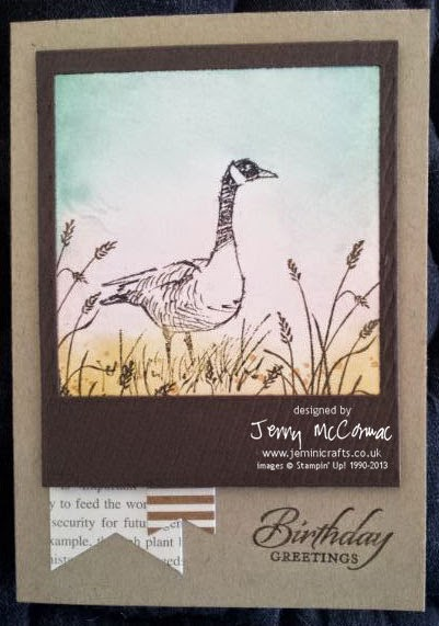 www.jeminicrafts.co.uk Wetlands card with Canada Goose