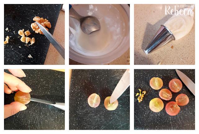 Receta de tarta (salada) de queso, uvas y nueces: preparando la decoración