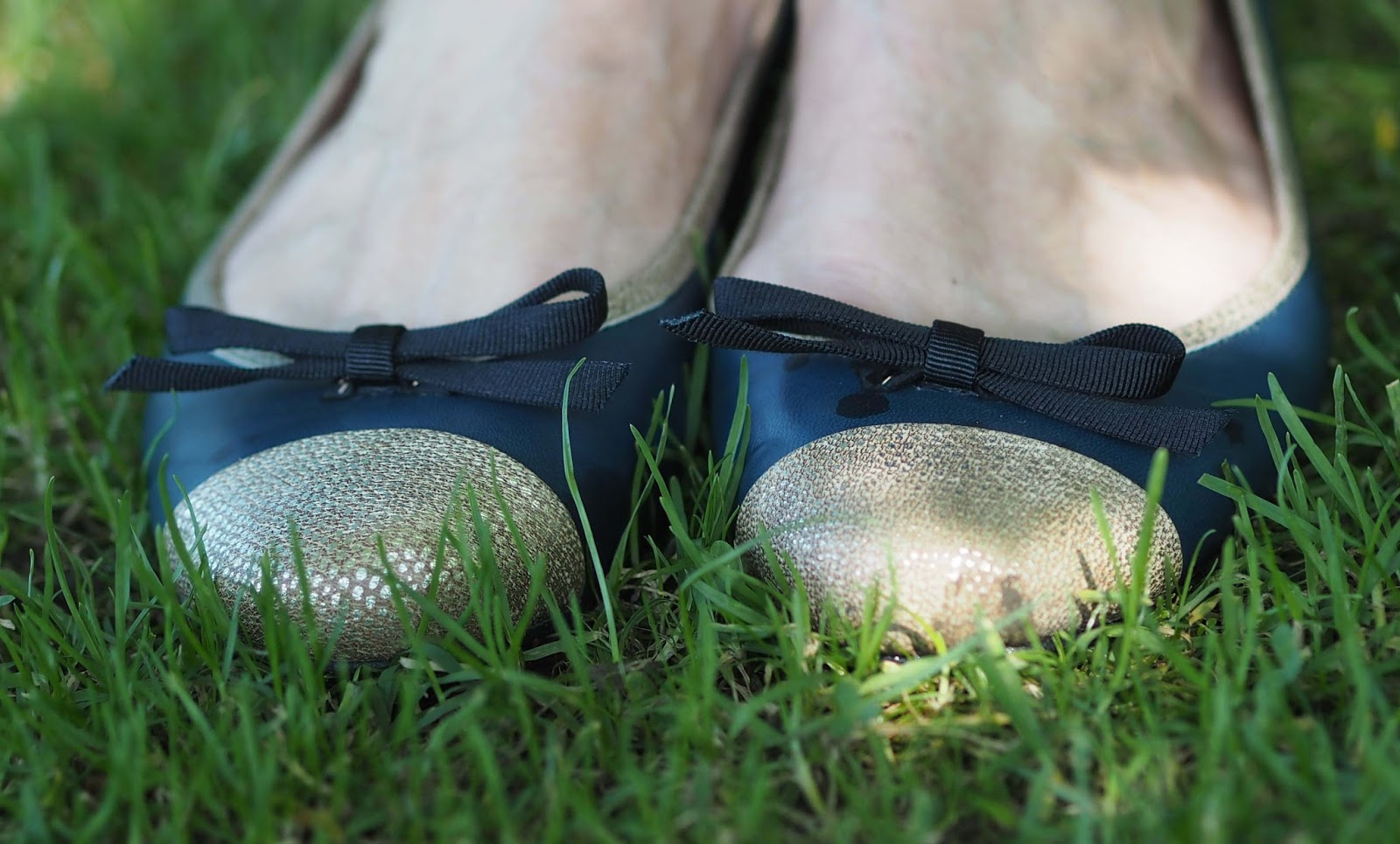 Taylor Blake navy and gold ballerina flat shoes