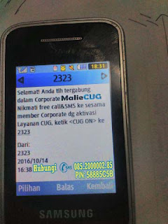 Selamat Anda telah tergabung dalam corporate MalieCUG Nikmati free call dan sms ke sesama member corporate dengan aktivasi layanan CUG. ketik CUG ON kirim ke 2323