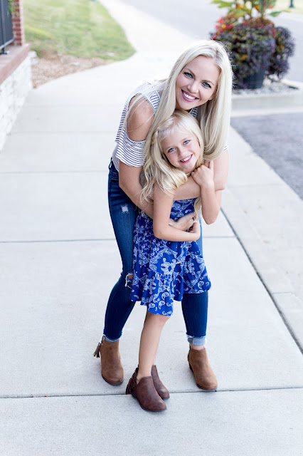 mommy and me matching outfit booties boots bootie dress guess blonde mom life daughter fashion outfit ideas
