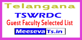 TSWRDC Guest Faculty Selected List