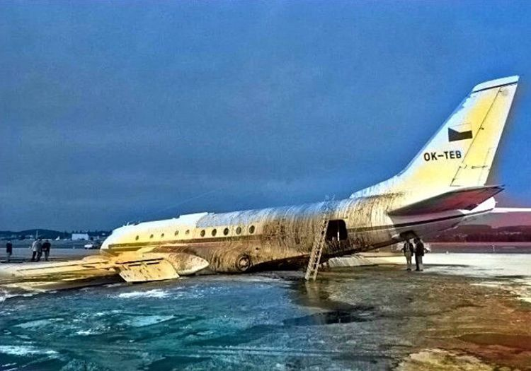 Tupolev Tu-124 iniş esnasında çok fazla zarar görmemişti, sadece sağ kanadı kırılmıştı.
