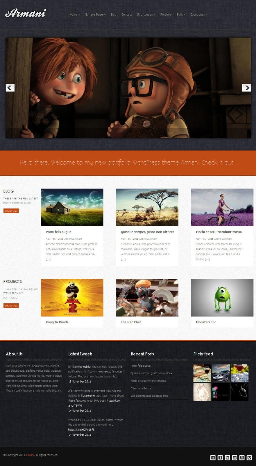 Armani-wordpress full screen video theme