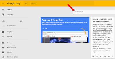 Aplikasi Diary Online gratis dari Google Keep