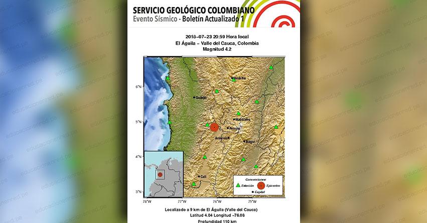 TEMBLOR EN COLOMBIA de Magnitud 4.2 (Hoy Lunes 23 Julio 2018) Sismo Terremoto EPICENTRO El Águila - Valle del Cauca - Cali - www.sgc.gov.co