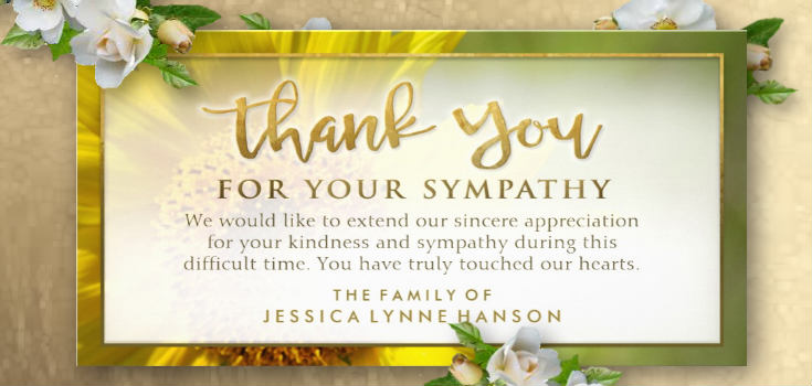 golden sunflower floral sympathy thank you card