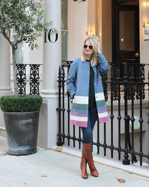 London, street style, statement coat, autumn look, autumn inspo, candy coloured coat, skinny jeans, brown boats, knee high boots, boden, boden coat, asos skinny jeans, pandora bracelet, ray ban sunglasses