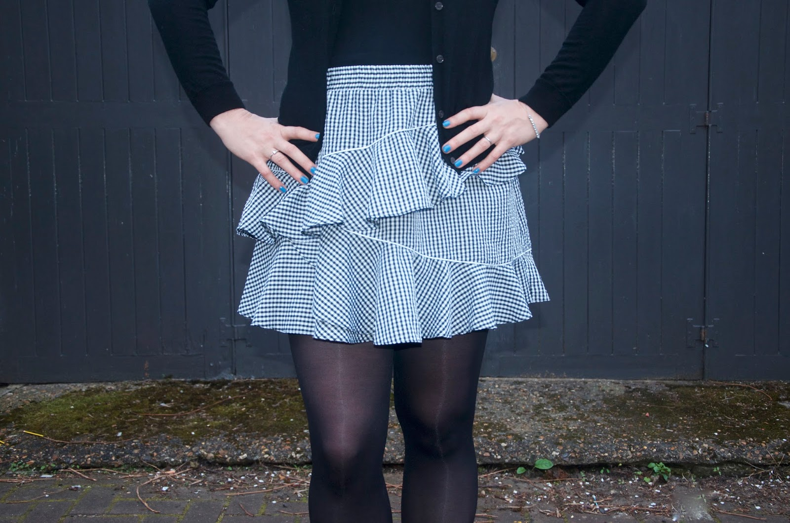 gingham ruffled seersucker skirt