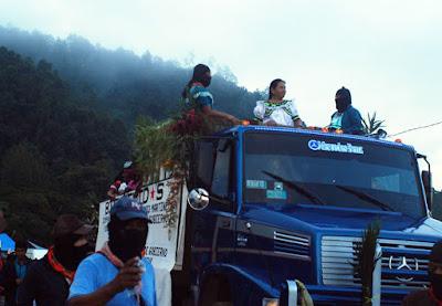 Llegada de María de Jesús Patricio Martínez al Caracol de Morelia, Chiapas