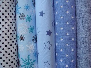 bavlnené úplety modrá potlač