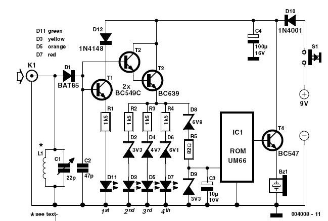 Schematic & Wiring Diagram: 144 MHz Simple RF Detector Circuit