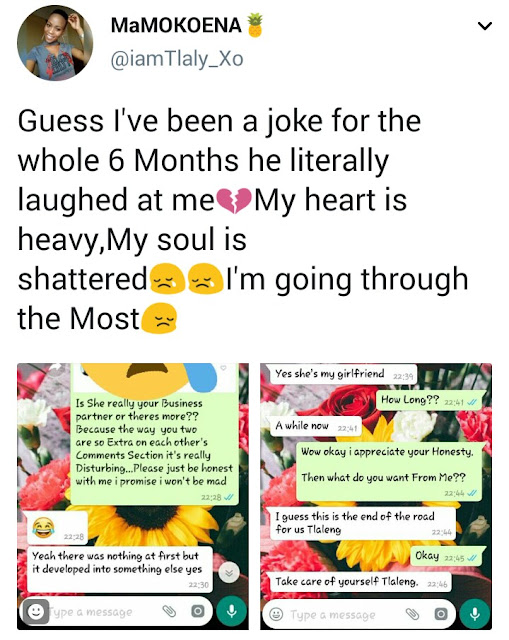 This pretty South African lady got dumped by her boyfriend and she shared the messages on twitter