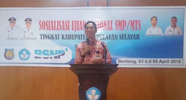 Kadis Dikbud,  Buka Pelaksanaan Sosialisasi UNBK 2018