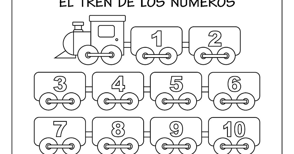 Fichas De Educación Preescolar El Tren De Los Números Del 1