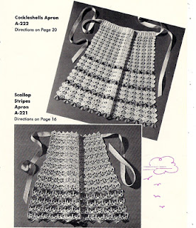 Lace Crocheted Apron Pattern, Vintage 1960s