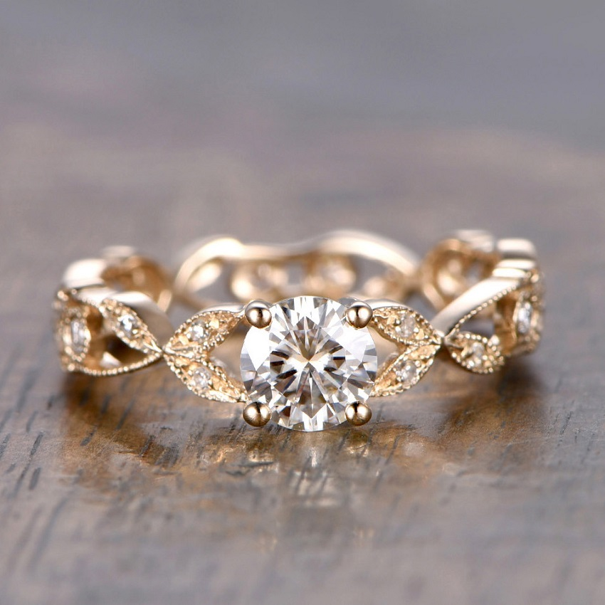 Simple Tips in Buying Couple, Promise, Engagement and Wedding Rings | Moissanite Engagement Rings: 5mm Round Cut 0.5ctw  Moissanite and Diamond Engagement Ring  14K Yellow Gold Filigree Floral Full eternity band