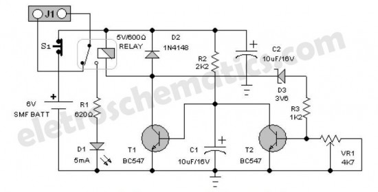 Emergency light battery guard circuit diagram schematic