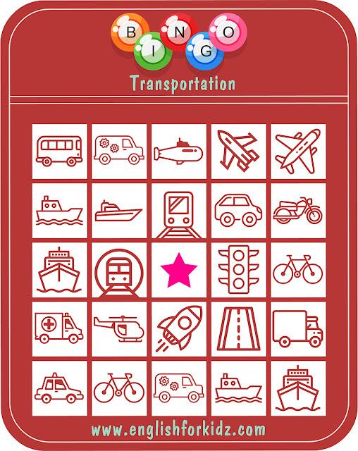 Printable transportation bingo game for ESL students